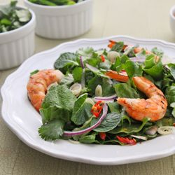 Thai salad of finely sliced herbs, hot-off-the-grill shrimp, and sweet ...