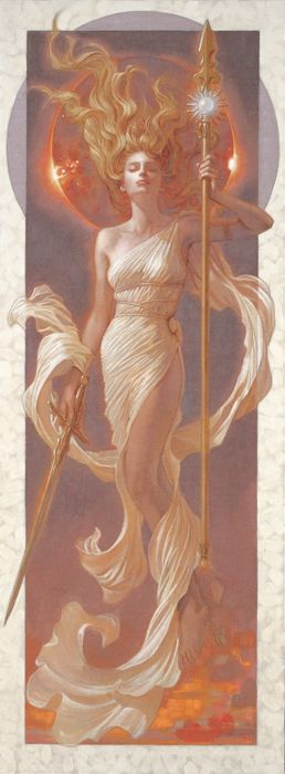 Eos in Greek mythology was the dawn goddess, tasked with bring the first light to the day. This dawn goddess was a daughter of Hyperion, and also brother to the Greek sun god Helios.