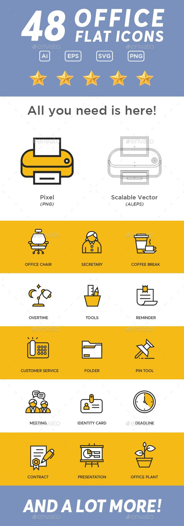 Flat icons for your business or personal use. Only $8 Product details : - Ai files (1 Set)- EPS10 (48 items)- PNG (300dpi)- SVG 1.1 (48 items) Featured : - Scalable Vector- Color Mode CMYK If you any question feel free to contact me (enhaka.enhaka@gmail.com)