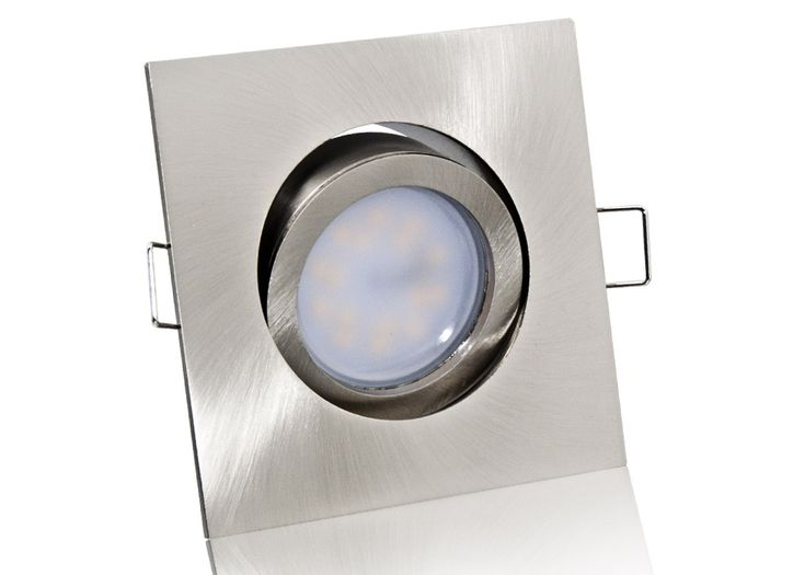LED Einbaustrahler Set mit Marken GU10 LED Spot Nextec 7 Watt Alu-Druckguß Eckig Klickverschluß