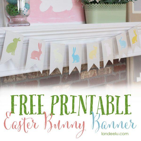 Printable Easter Banner | landeelu.com A free printable Easter bunny banner! Super cute!