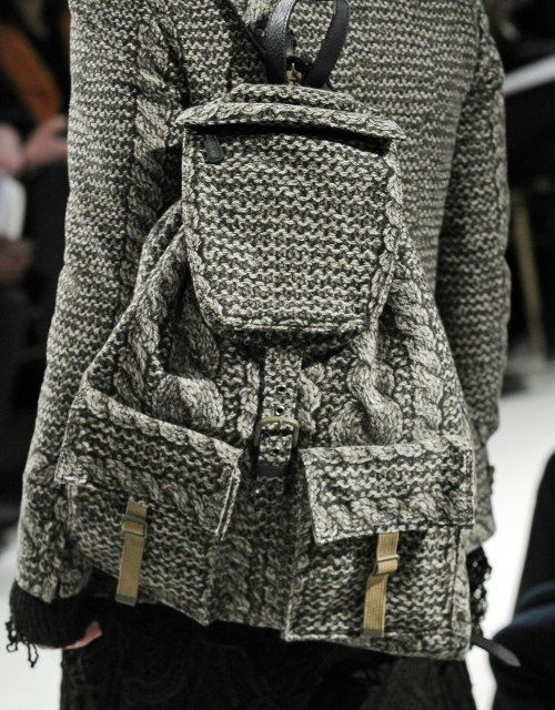 Knitted backpack.
