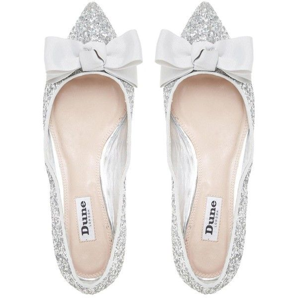 0fadec6b7e62 BOW BELA Jewelled Heel Grosgrain Bow Detail Flat Shoe SILVER (1.363.345  IDR) ❤ liked on Polyvore featuring shoes