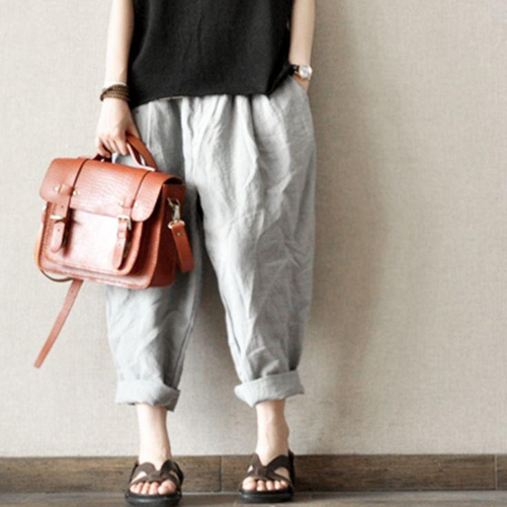 Gray And Black Turnip Pants Casual Linen Long Pants Big Pocket Loose Pants -- Women Clothing / clothingshow