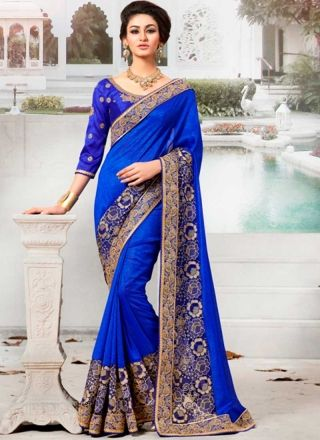 Royal Blue Georgette With Embroidery Resham Work Saree