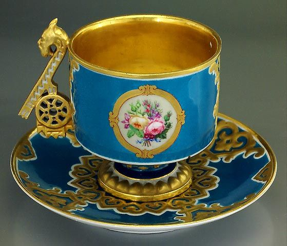 Exceedingly Rare Antique Porcelain Cup and Saucer in Neo-Russian Style, by the…