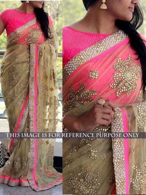 NEW LATEST BEIGE COLOR NAYLONE NET EMBROIDERY WORK SAREE Bollywood Sarees Online on Shimply.com