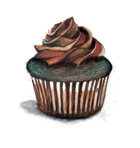 Chocolate Cupcake Illustration by longbluestraw on Etsy