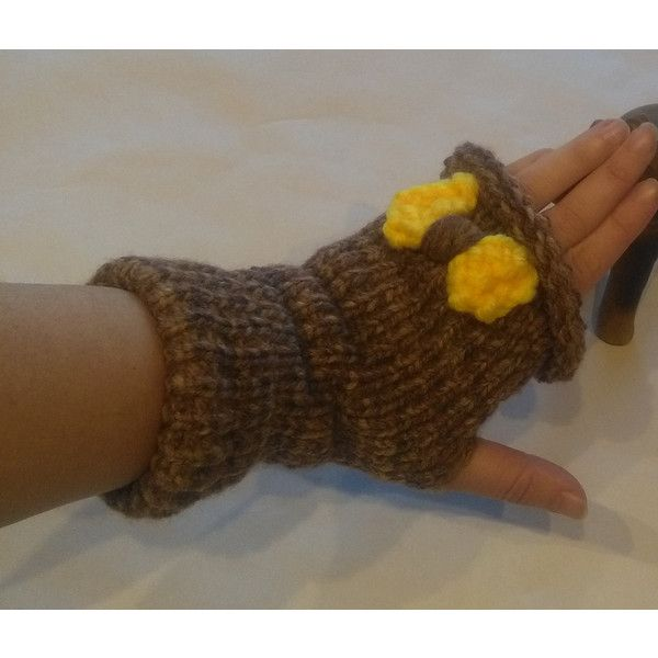 Arm Warmers, Fingerless Gloves, finger gloves, gloves with yellow bow,... (€33) ❤ liked on Polyvore featuring accessories and gloves