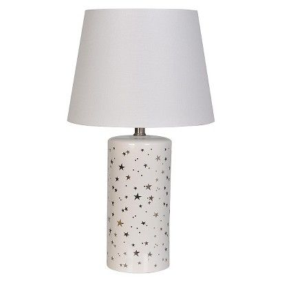 SILVER Star table lamp. So cute for a outer space themed kids room.
