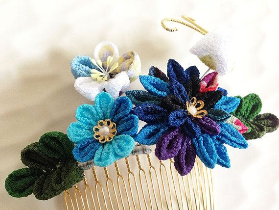Kanzashi comb, Blue, Butterfly