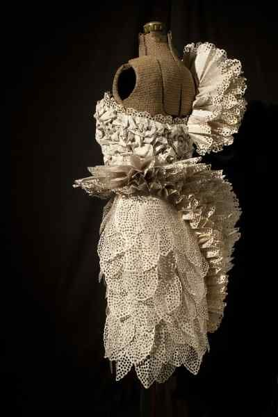 Sculptural Paper Dress made with perforated book pages // Book Art, Carrie Anne Schumacher