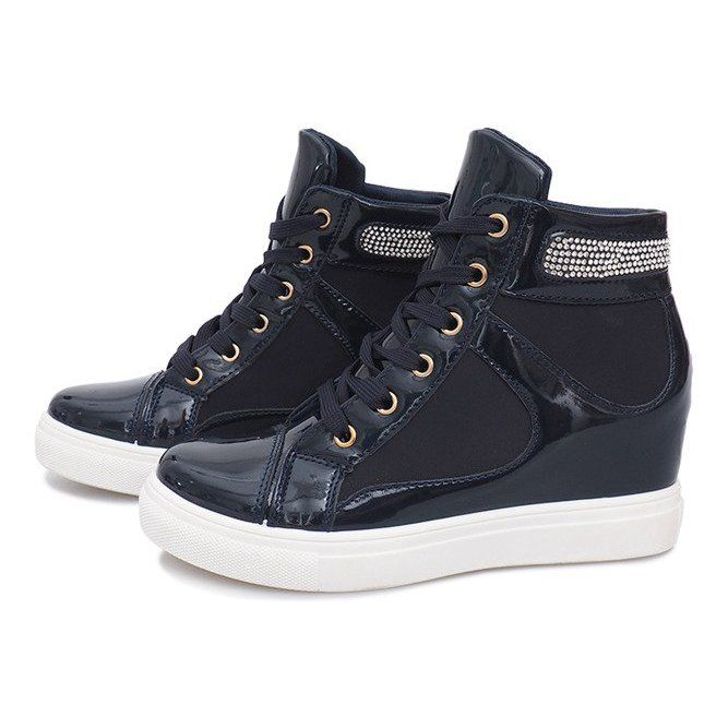 Sneakersy Na Koturnie A 35 Granatowy Granatowe Boot Shoes Women Womens Boots Womens Sneakers