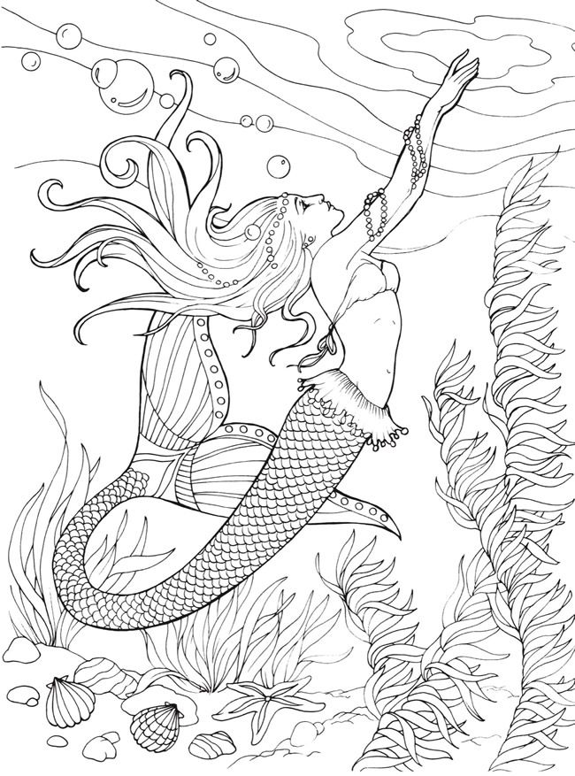 271 best Mermaid Coloring Pages for Adults images on Pinterest
