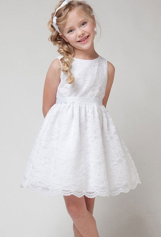 5fcb3410293 Lace Flower Girl Dress with Ribbon Detail