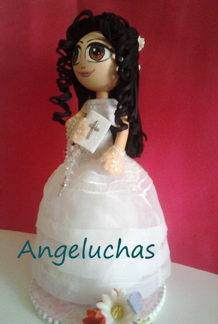 Fofuchas angeluchas: Muñecas fofuchas artesanales y originales: Niña de comunión. Berta.