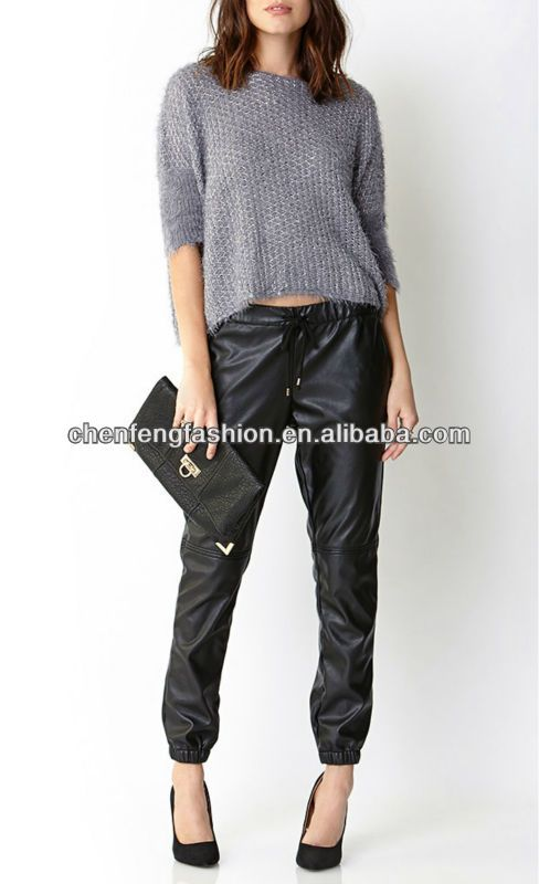 #jogger pants, #blue fashion jogger jeans pants, #faux leather pants women