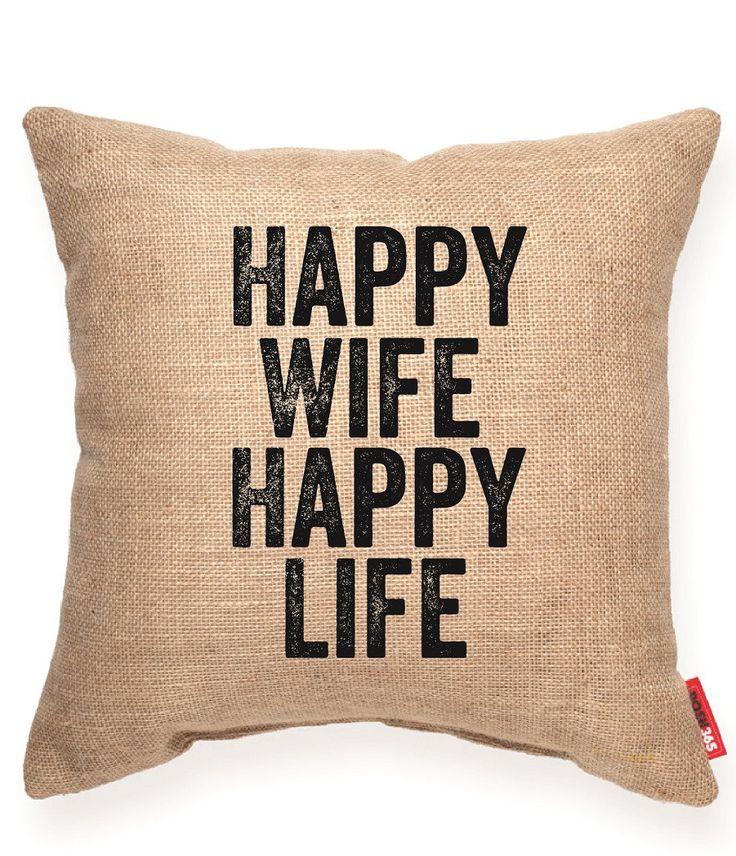 """""""""""Happy Wife Happy Life"""""""" Decorative Throw Pillow"""