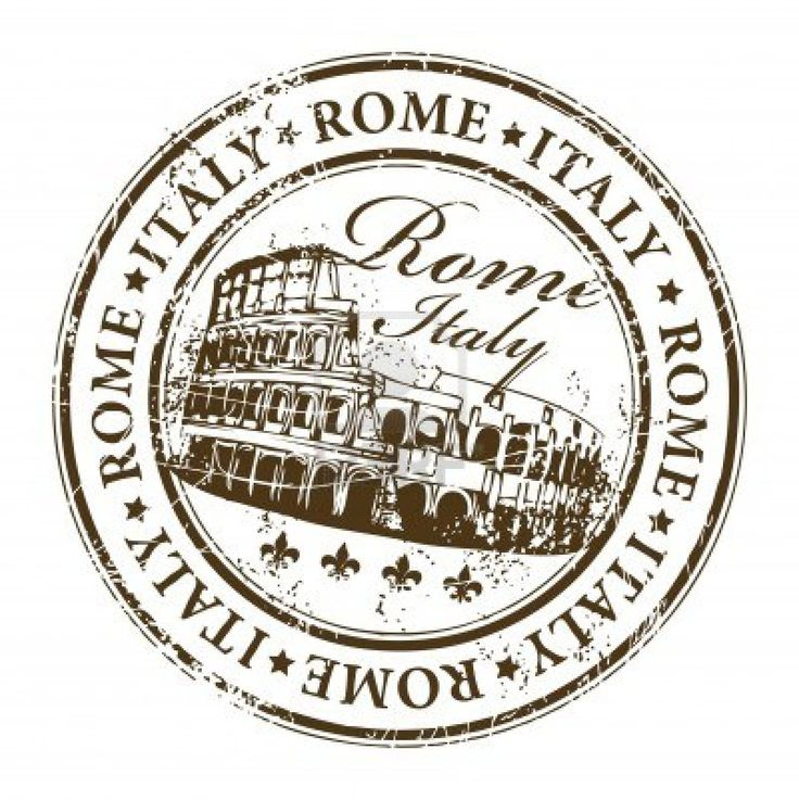 stamp with Colosseum and the word Rome, Italy inside Stock Photo