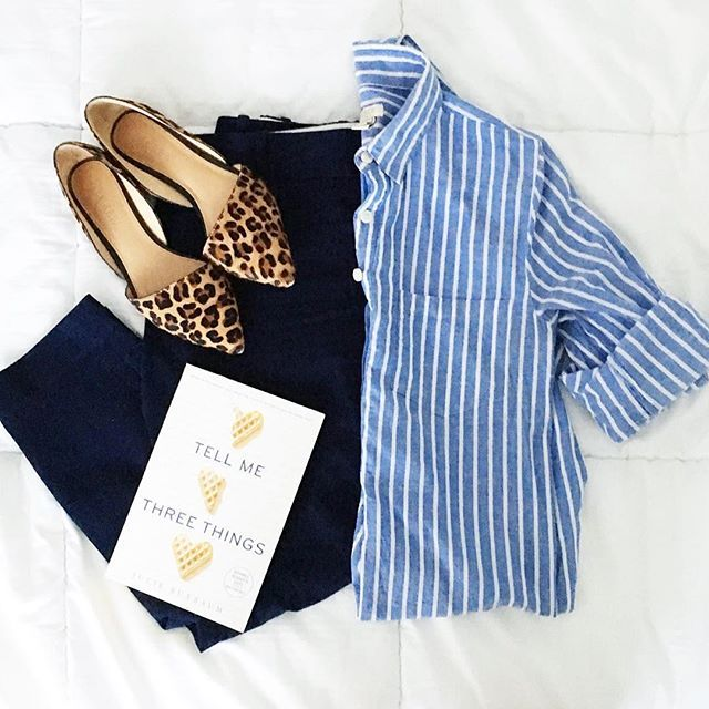 Monday, we meet again. But since this time I have a bunch of things I'm excited to do and books I'm excited to read, I think I have the upper hand. Have you read Tell Me Three Things? Work outfit inspiration, women's fashion, leopard print flats, button down shirt, blue striped top, navy work pants.