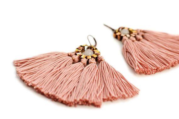 Tassel Earrings Old Rose Fringe Earrings Hippie от gudbling