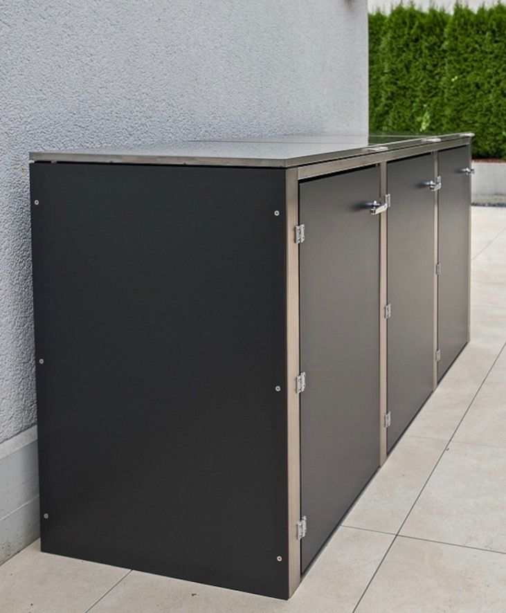 Rubbish bins get curb appeal: aDustbinbox from Augsburg, Germany-based design@gartenhaus conceals trash cans in a sturdy storage container that's stylish