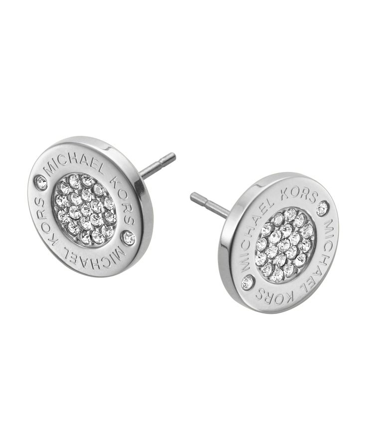 Michael Kors stainless steel round white crystal logo stud earrings | Fraser Hart Jewellers