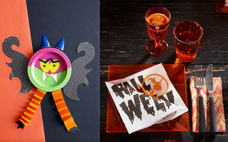 Halloween make scary monsters out of paper or plastic plates