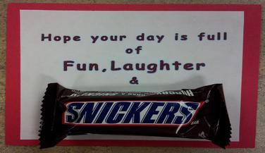 Teacher appreciation gifts using Snickers candy. Hope your ...