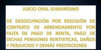 JUICIO ORAL SUMARÍSIMO DE DESOCUPACIÓN POR RESCISIÓN DE CONTRATO DE ARRENDAMIENTO...