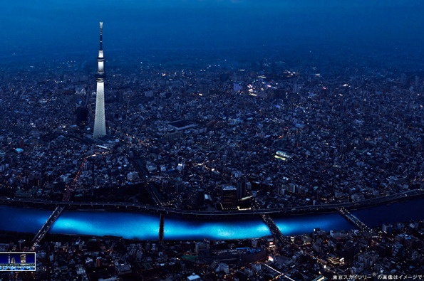 In 2012, 100,000 illuminated blue LEDs were let go into the Sumida River at the Tokyo Hotaru Festival. See how the LED lights look as though they are the underwater currents invisible to the naked eye! | #travel #lighting #Tokyo
