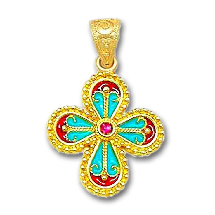 18K Solid Gold and Hot Enamel Ornate Rounded Cross Pendant with Ruby.