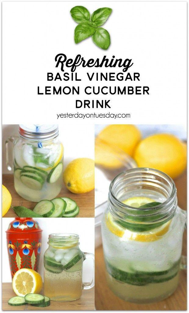 Refreshing Basil Vinegar Lemon Cucumber Drink in a Mason Jar, a delicious beverage to enjoy in summer or anytime.