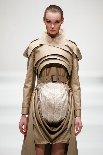 Fashion as Art - sculptural trench coat, pod dress with 3D layered construction; experimental fashion design // Tokyo New Designer Fashion Grand Prix