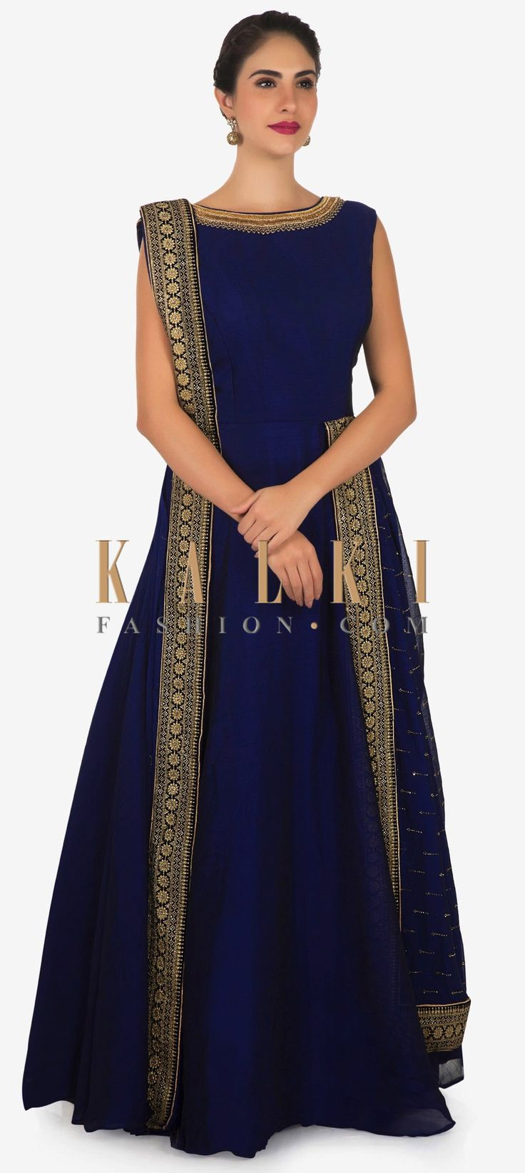 Buy Online from the link below. We ship worldwide Click Anywhere to Tag  Navy blue anarkali suit in chiffon with attach kundan embroidered dupatta only on Kalki  Anarkali suit featuring in navy blue chiffon. High neckline is embellished in moti and cut dana embroidery. Enhanced in attach drape dupatta at shoulder and waist with kundan work all over. Slight variation in color is possible.