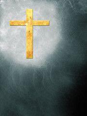 Abstraktes geflammtes Kreuz vor einem abstraktem Hintergrund