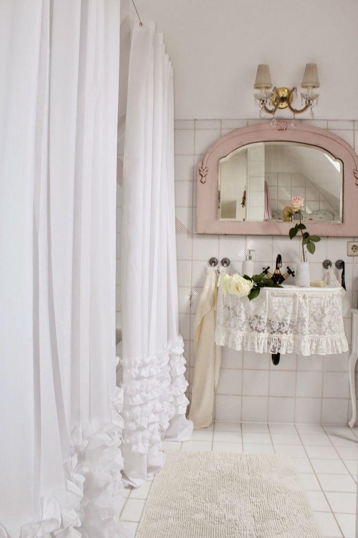 White ruffle curtain - Shabby Chic Bathroom I Love The White Ruffled Shower Curtain Via Heavens Ros Cottage