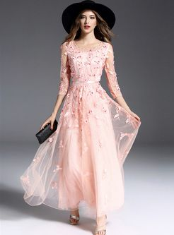 Elegant Hollow Bead Embroidery A-line Maxi Dress