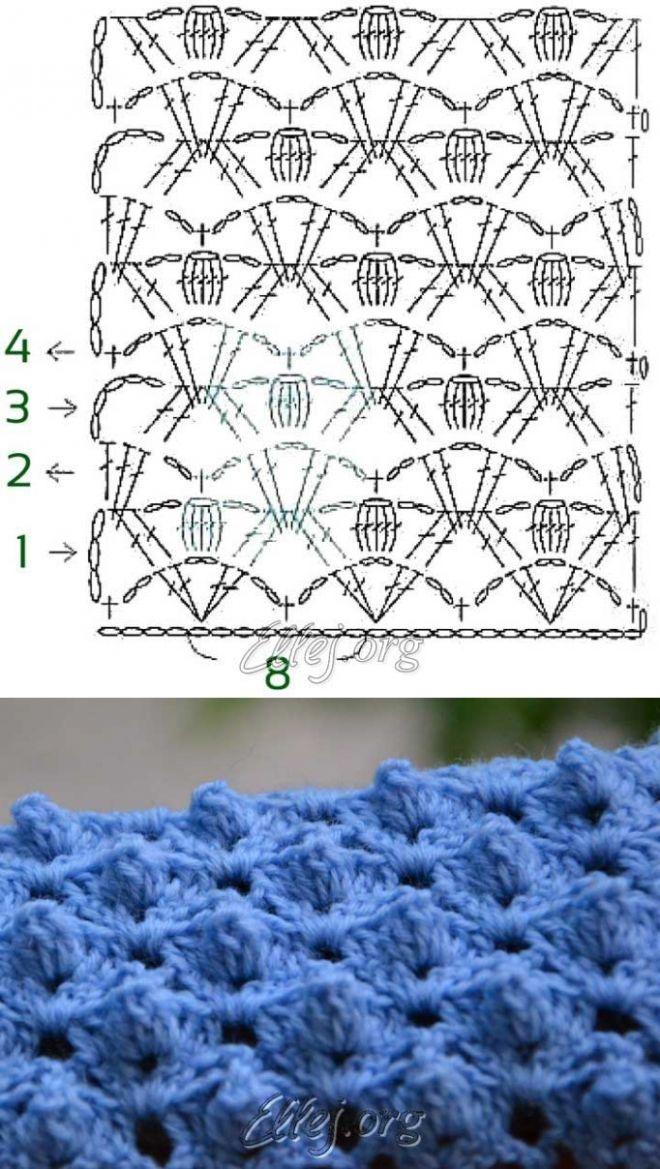 El dibujo en relieve el Respaldo del cocodrilo | Crochet by Ellej | Crochet by Ellej | la Labor de punto por el gancho de Elena Kozhuhar