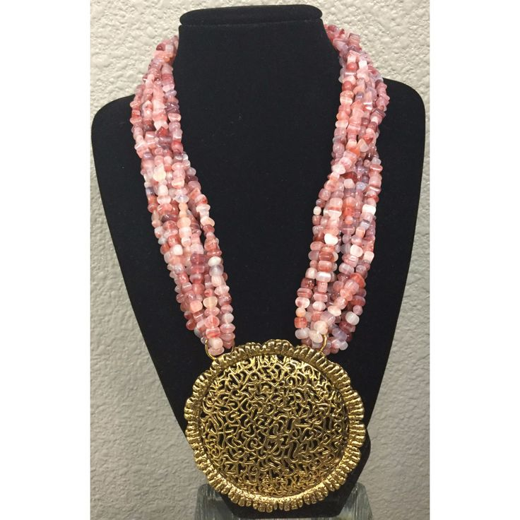 Pink Stone Gold Disc Necklace