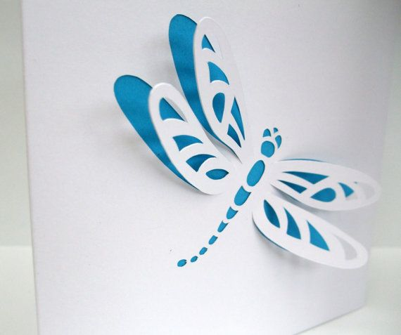 Dragonfly Card - Paper Cut Dragonfly - Personalised Card - Handmade Greeting Card - Birthday Card    This beautiful and delicate Dragonfly has been