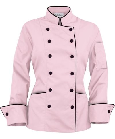 pink chef jacket | Chef Coat Pink/Black XS | Living Light International