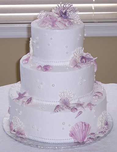 Image detail for -... Bows - 2 Tier Wedding Cake - Beach Themed Wedding Cakes Photo Gallery