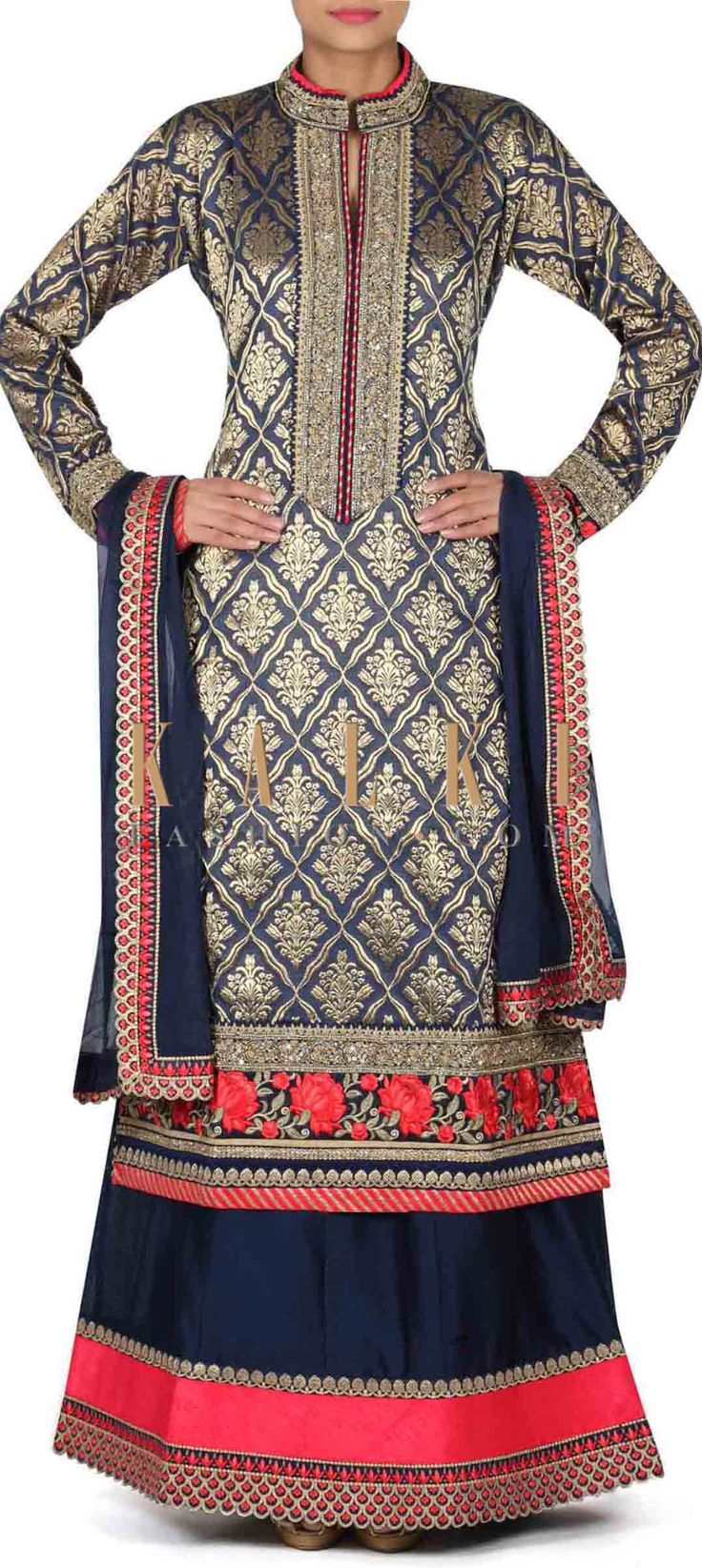 Navy blue straight suit with embroidered placket only on Kalki