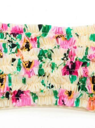 Floral Printed Strapless Backless Ruffle Bandeau Lycra Fabric Bikini Sets Swimwe - US$29.39