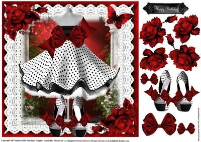 Beautiful Red bow polka dot dress and Shoes on Craftsuprint designed by Julie Hutchings - Beautiful Red bow polka dot dress and Shoes topper with decoupage and sentiment tag Happy Birthday - Now available for download!