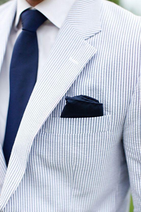 Light Blue Seersucker Suit Jacket, Navy Silk Tie + Navy Pocket Square