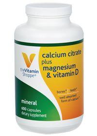the Vitamin Shoppe Calcium Citrate plus Magnesium & Vitamin D ( ) 600 Capsules  Product Label Bones Teeth Well absorbed form of Calcium
