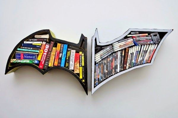 Unique and Modern Bookshelves with Batman Design Ideas for Minimalist Home Library Ideas