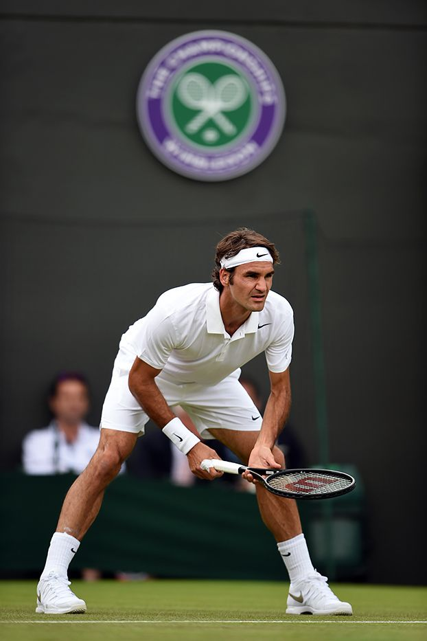 Roger Federer prepares to return serve - Billie Weiss/AELTC #Federer #Wimbledon #Tennis